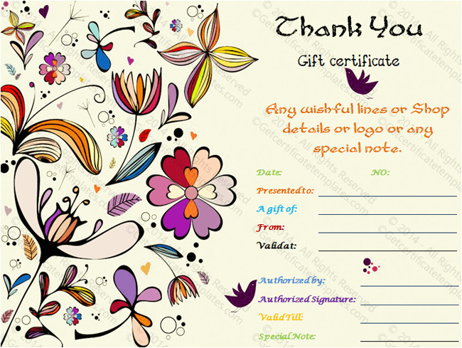 Thank You Certificate Templates for Word Special Thank You Gift Certificate Template