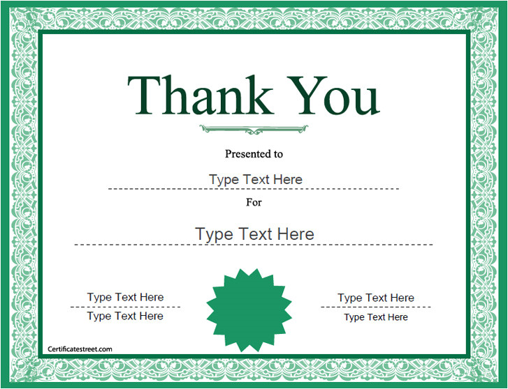 Thank You Certificate Templates for Word Thank You Certificate Template Word Templates Data
