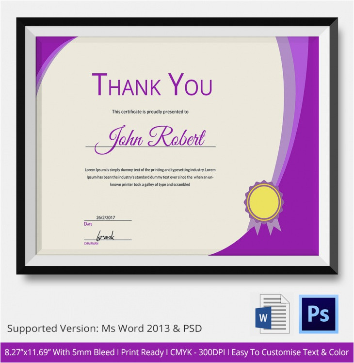 Thank You Certificate Templates for Word Thank You Certificates Psd Word Designs Design