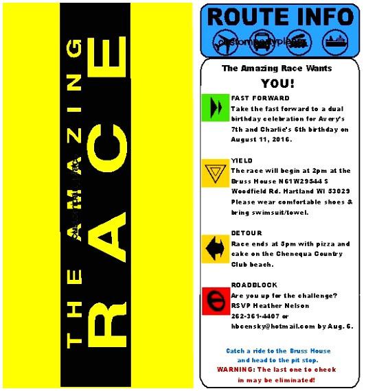 amazing race envelope template