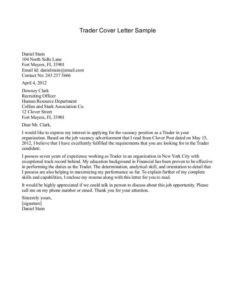 cover letter sample for trader