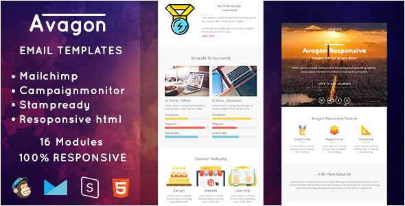 themeforest avagon responsive email templates