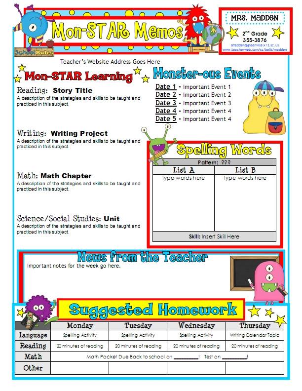 classroom newsletter template 2292
