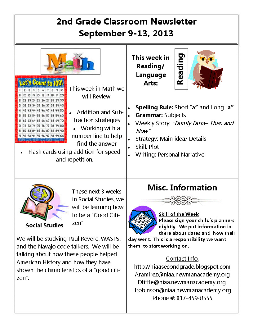 newsletter planner and vocab