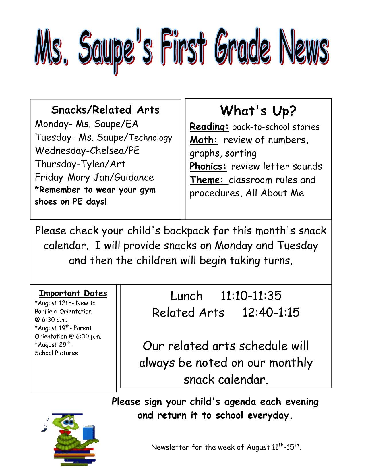 third grade newsletter template