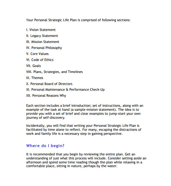 This is Your Life Template 9 Life Plan Templates Sample Templates