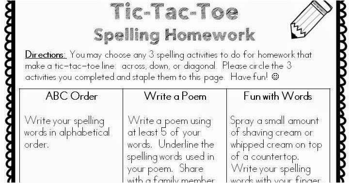 Tic Tac toe Homework Template Classroom Freebies too Spelling Homework Freebie