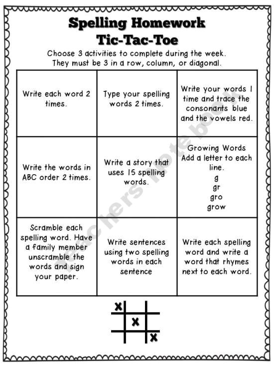 Tic Tac toe Homework Template Teacher Notebook Spelling and Spelling Homework On Pinterest