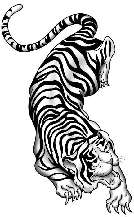 crawling chinese tiger tattoo sample