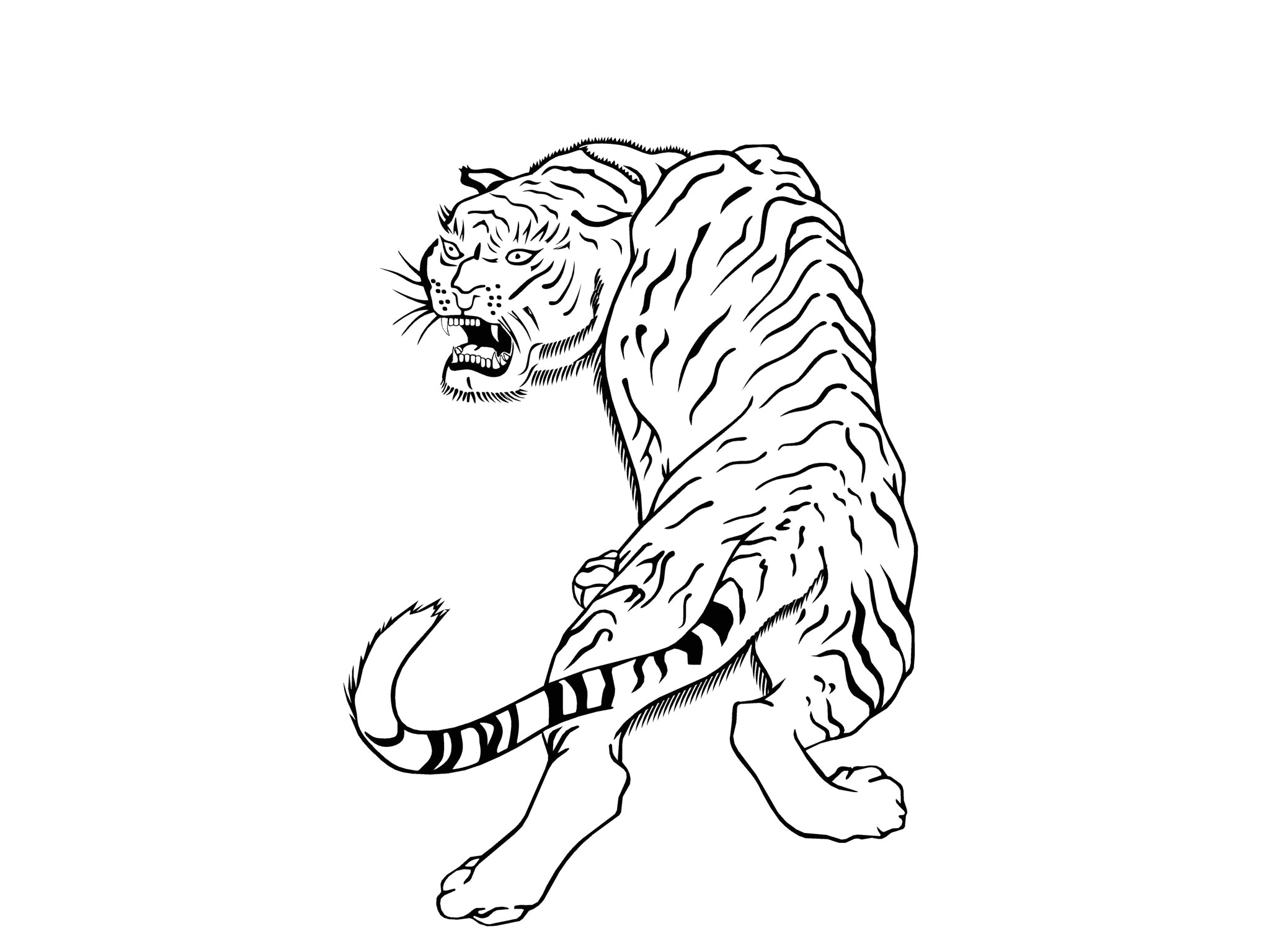 52819 plain outline tiger tattoo design