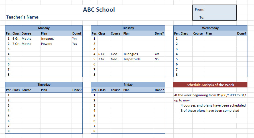 teacher schedule template 760