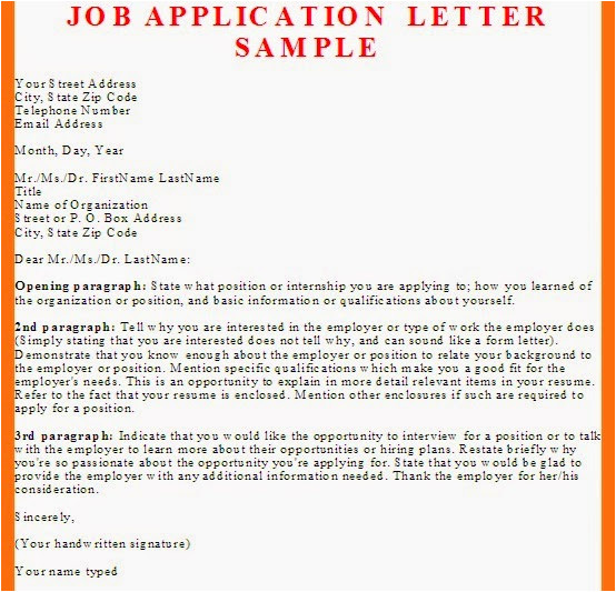 job application letter sample and tips