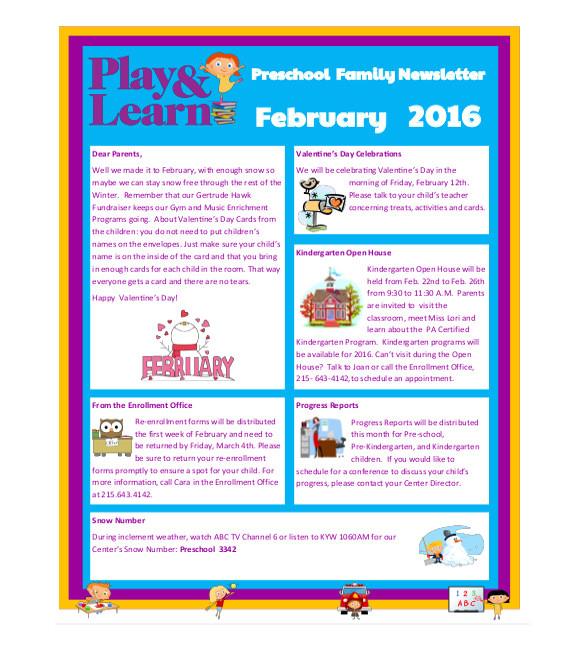 sample preschool newsletter