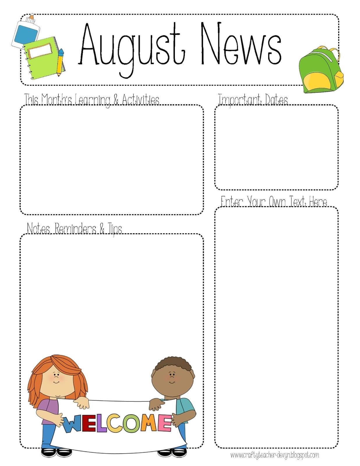 post printable newsletter templates for teachers 109917