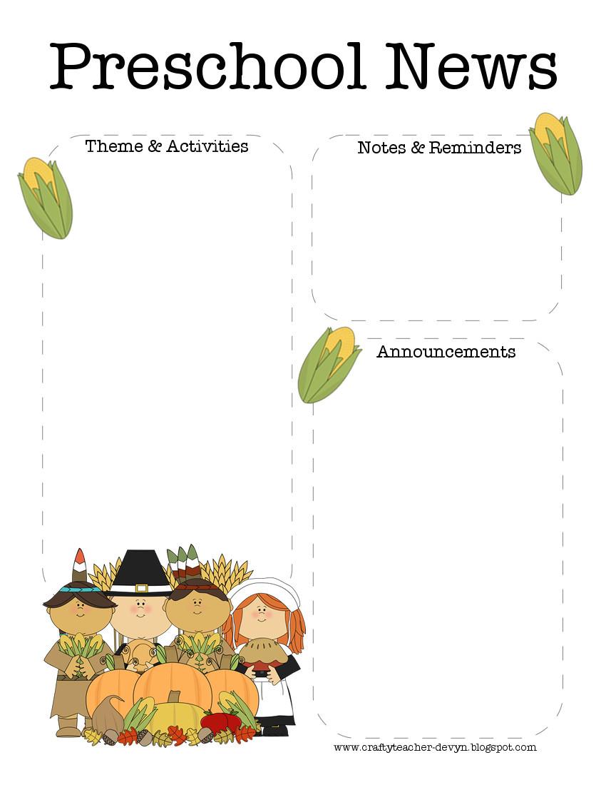 Toddler Newsletter Templates November Thanksgiving Preschool Newsletter Template the