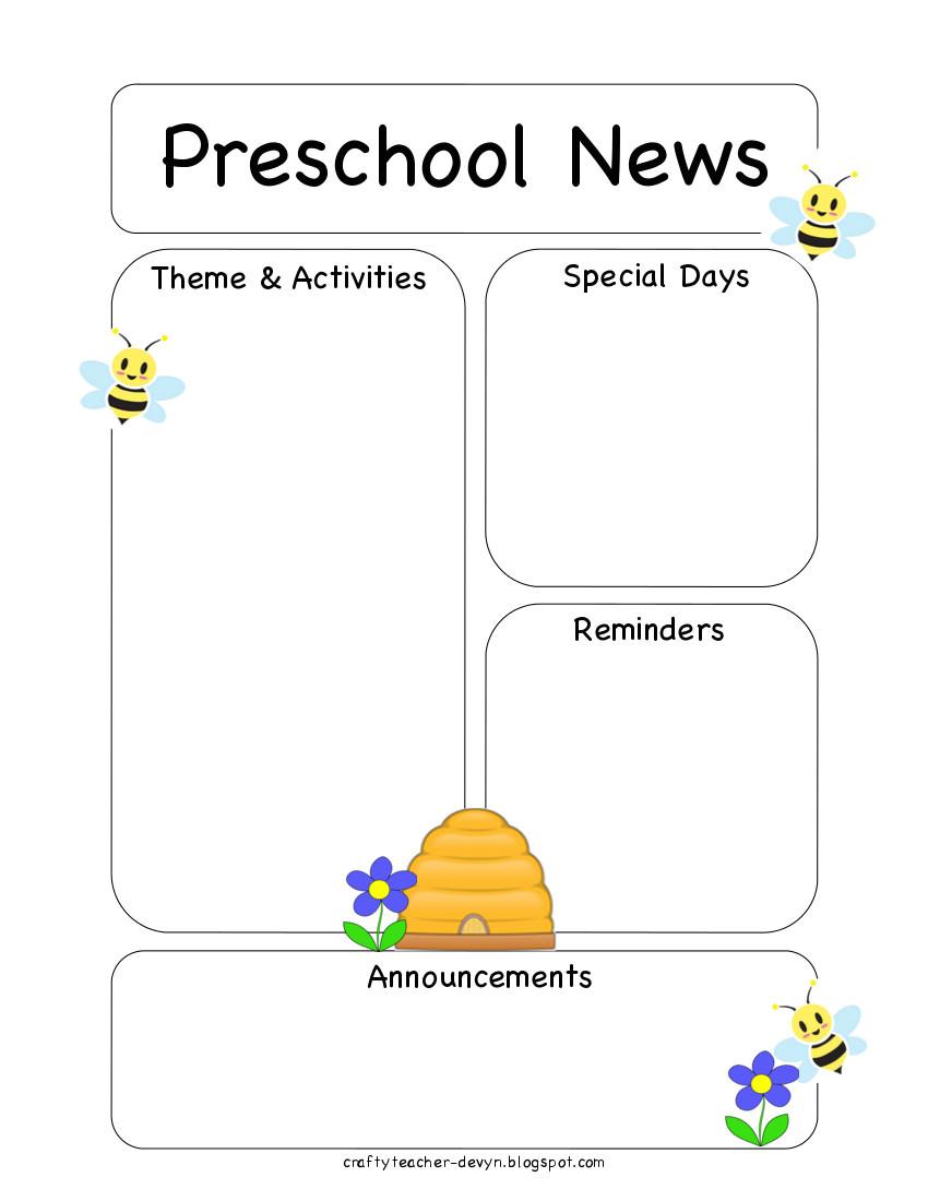 Toddler Newsletter Templates Preschool Bee Newsletter Template the Crafty Teacher