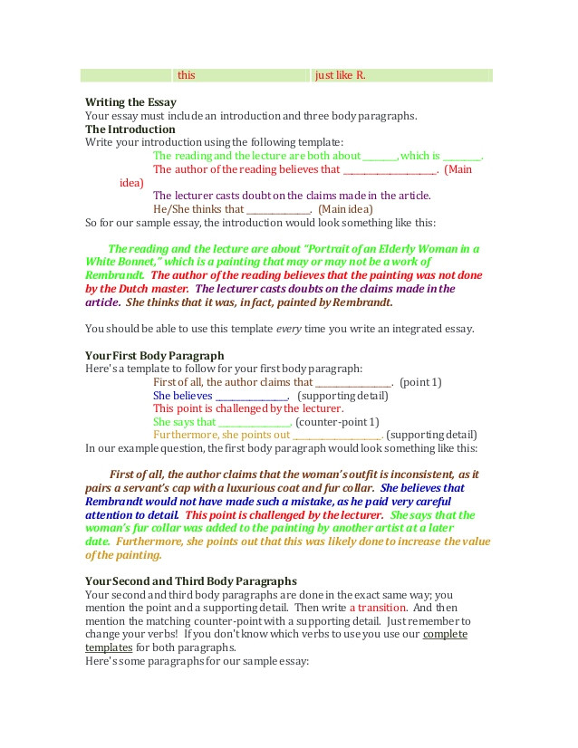 how to write the toefl integrated essay