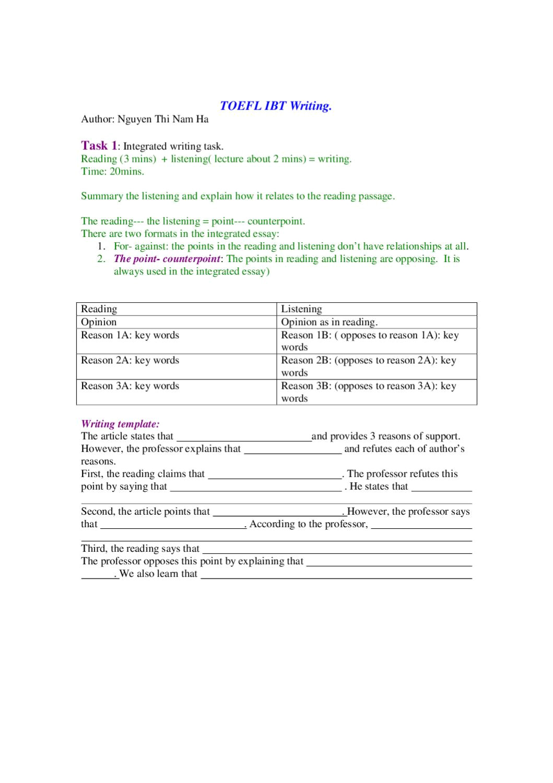 toefl ibt writing essay types