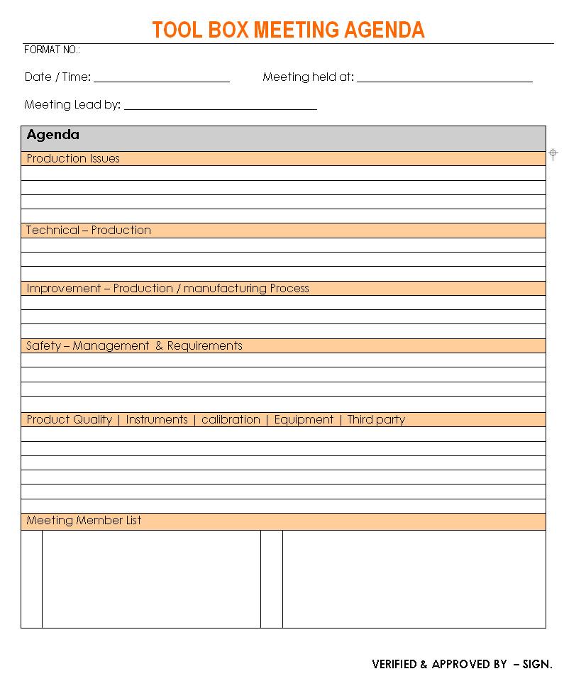 toolbox meeting agenda