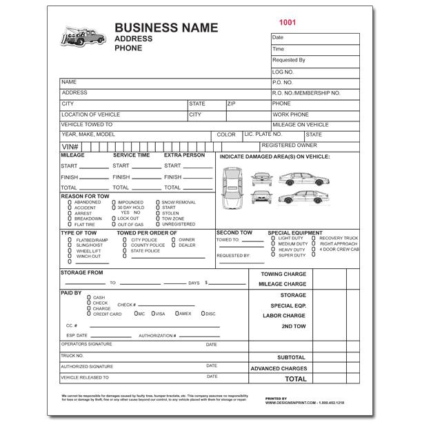 71 towing invoice form
