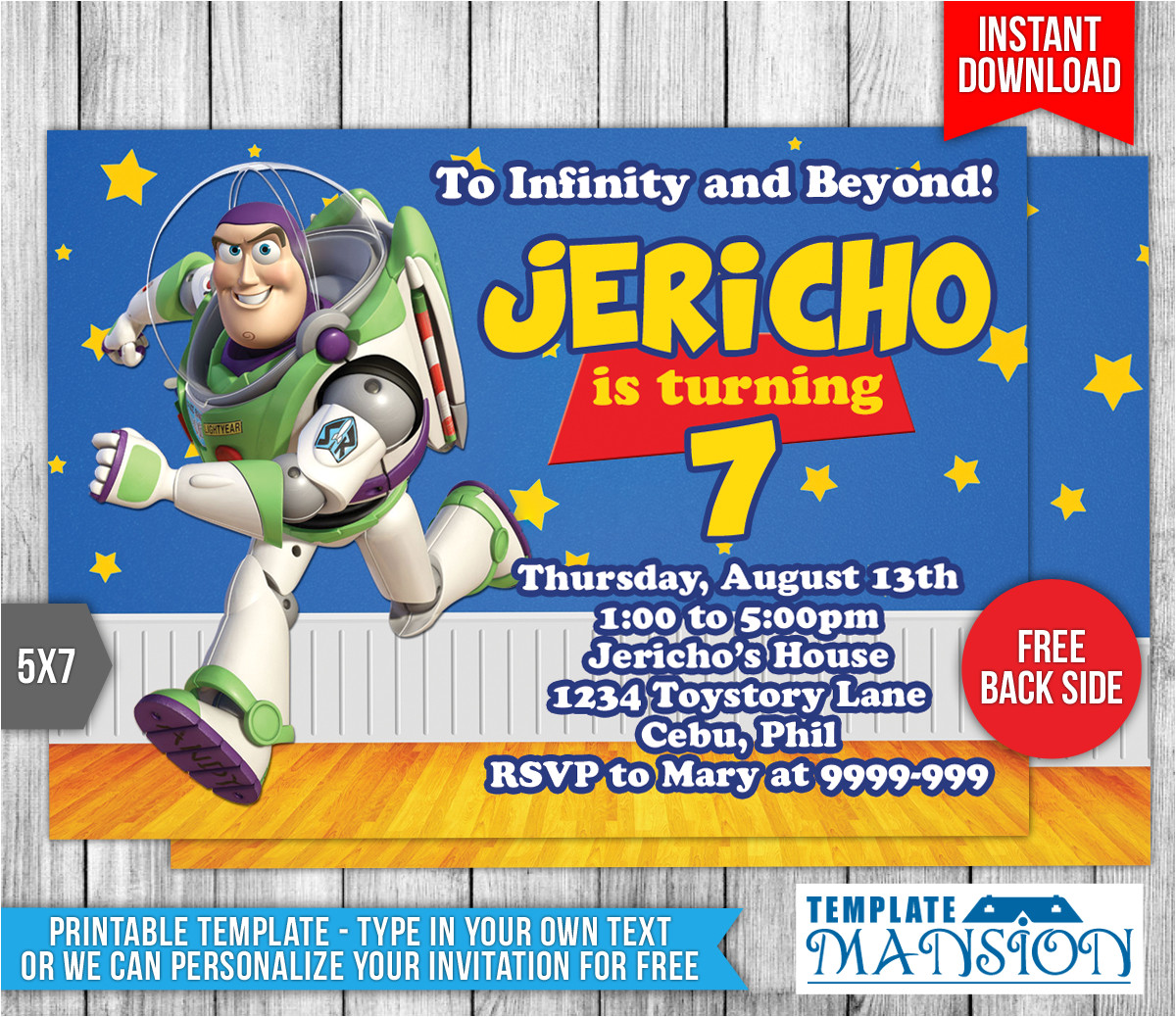 Toy Story Invites Templates Free Buzz Lightyear toy Story Birthday Invitation by