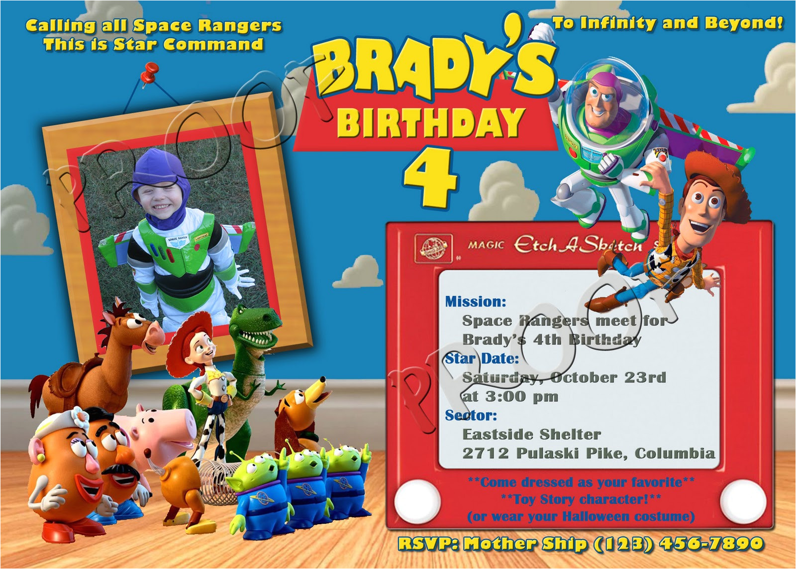 Toy Story Invites Templates Free Free Personalized toy Story Birthday Invitations Template
