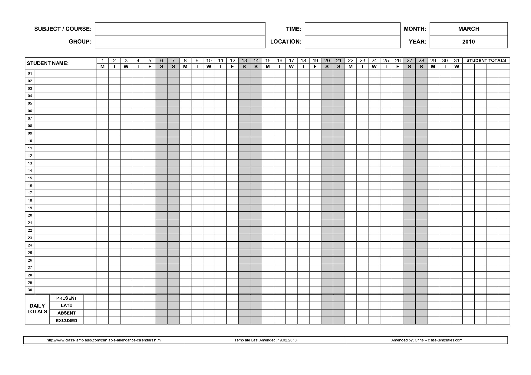 free printable attendance sheet samples