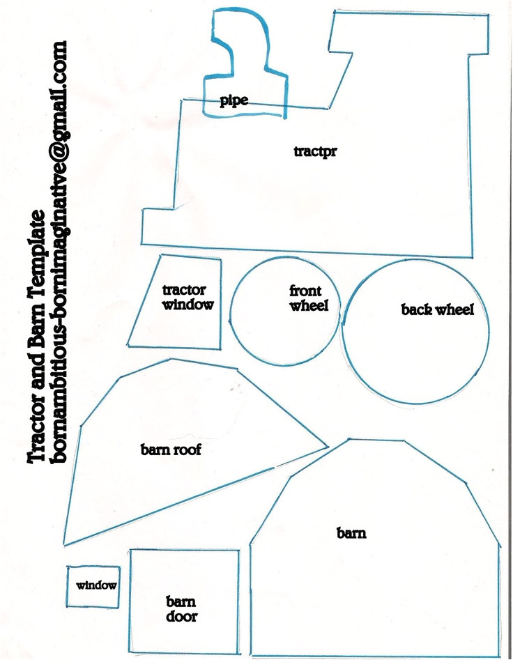 Tractor Template to Print Tractor Barn Template Designs for Crafts Teaching