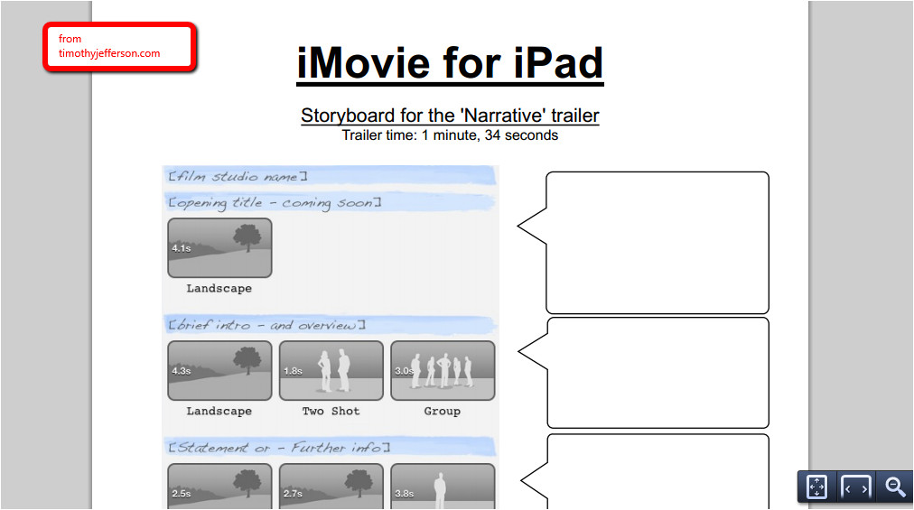 imovie trailer storyboards from timothyjefferson com