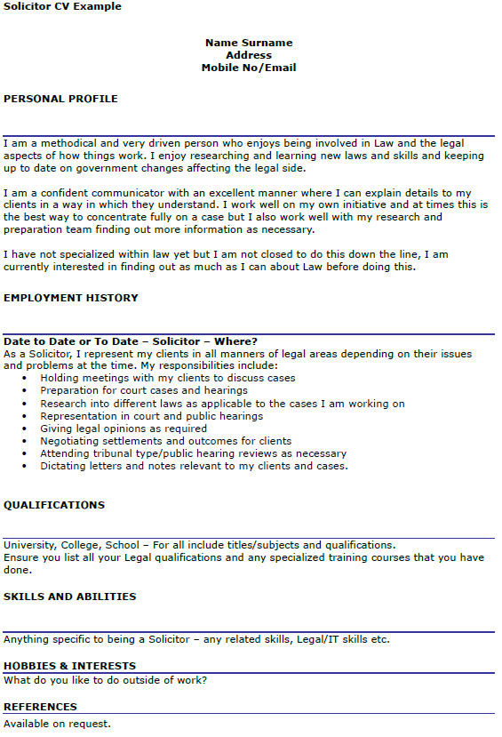 solicitor cv example
