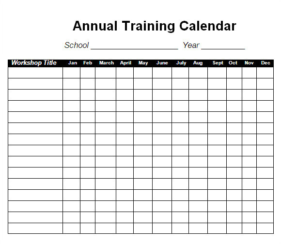 Training Calendars Templates 12 Sample Training Calendar Templates to Download Sample