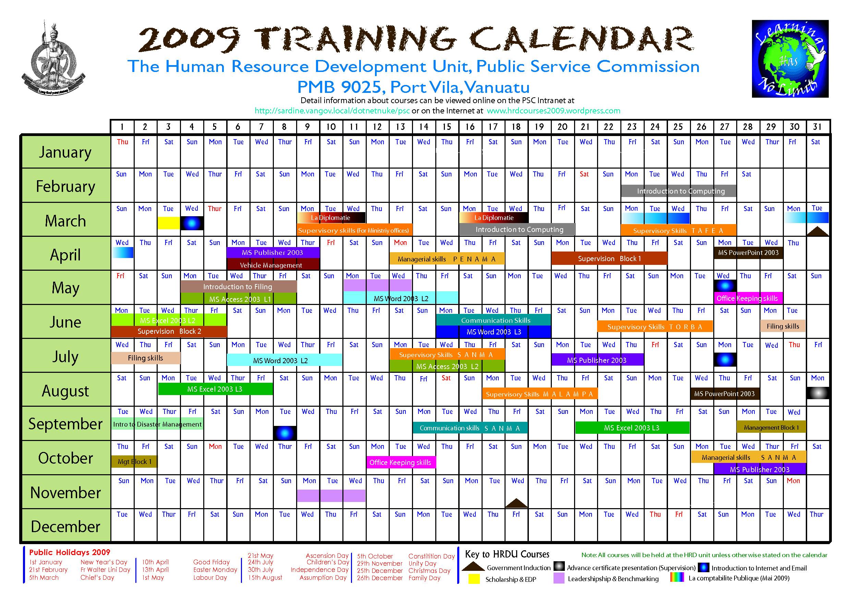 training calendar template