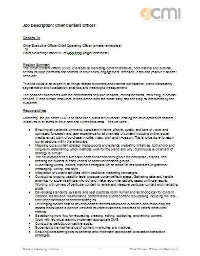 chief content officer job description sample example tempate