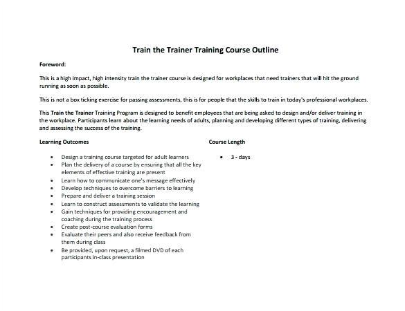 outline template trainer training course useful plus officer job description