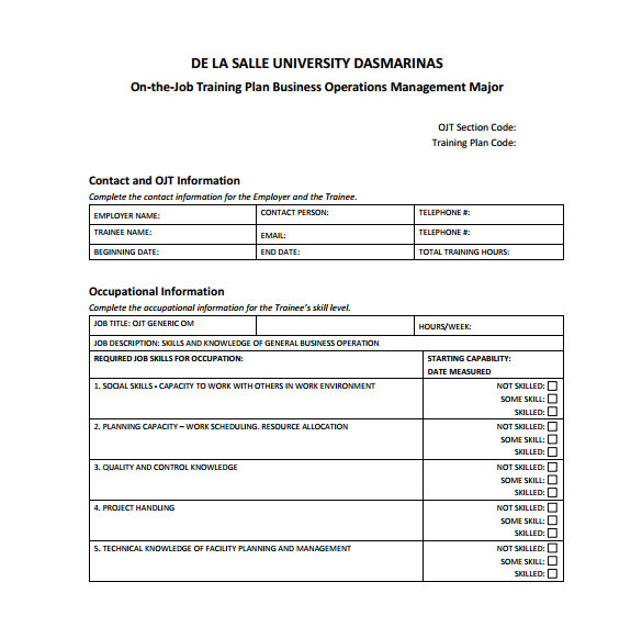 Training Package Template Training Plan Template Cyberuse