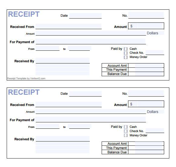 sample general receipt