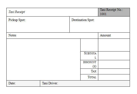 sample taxi receipt