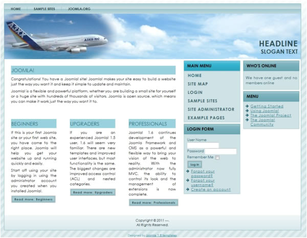 joomla 16 template for travel portal or