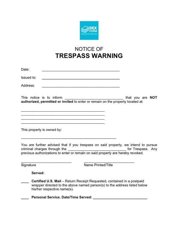 notice of trespass warning