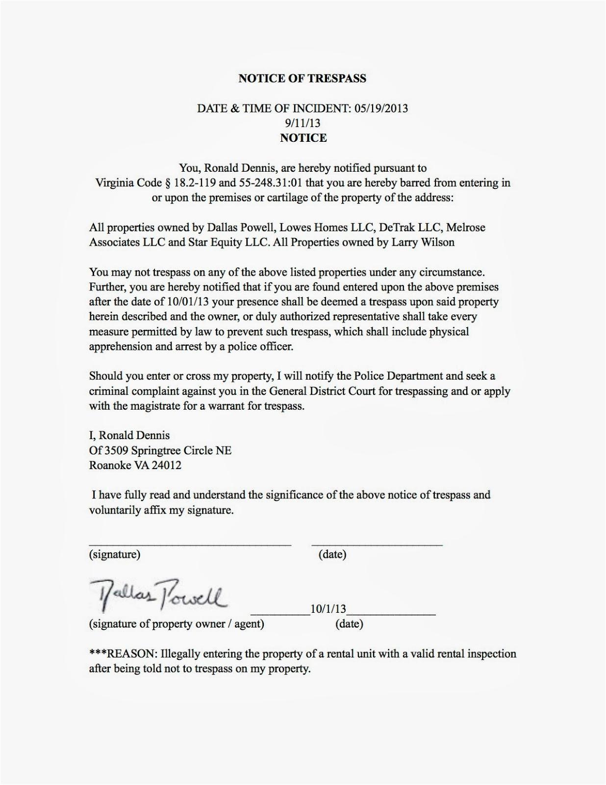 Trespass Notice Template Real Estate Investors Of Virginia Ronald Dennis Notice