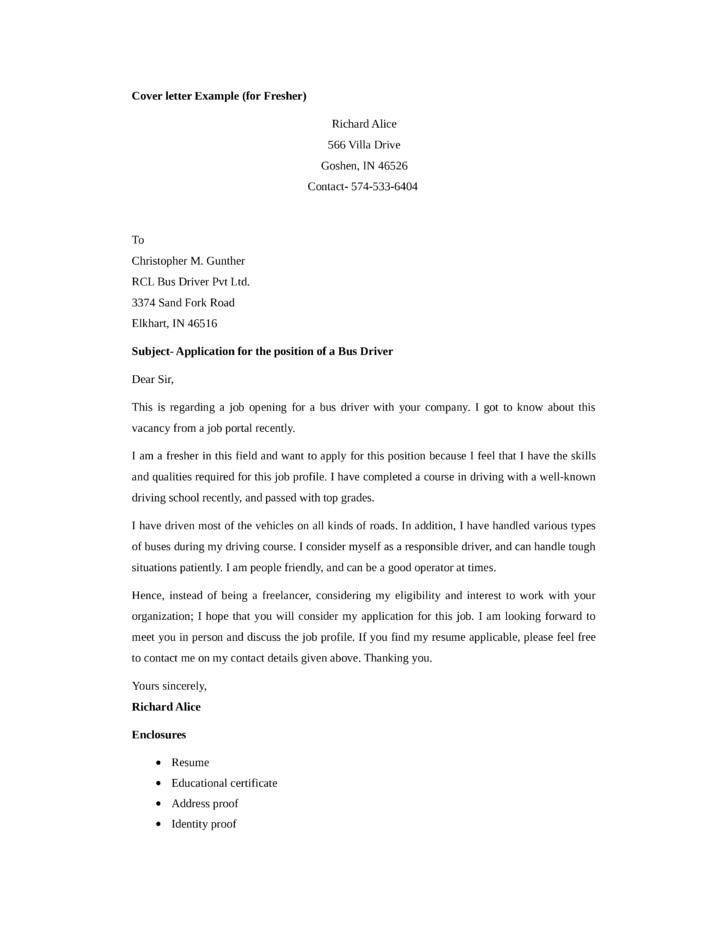 application letter bus driver