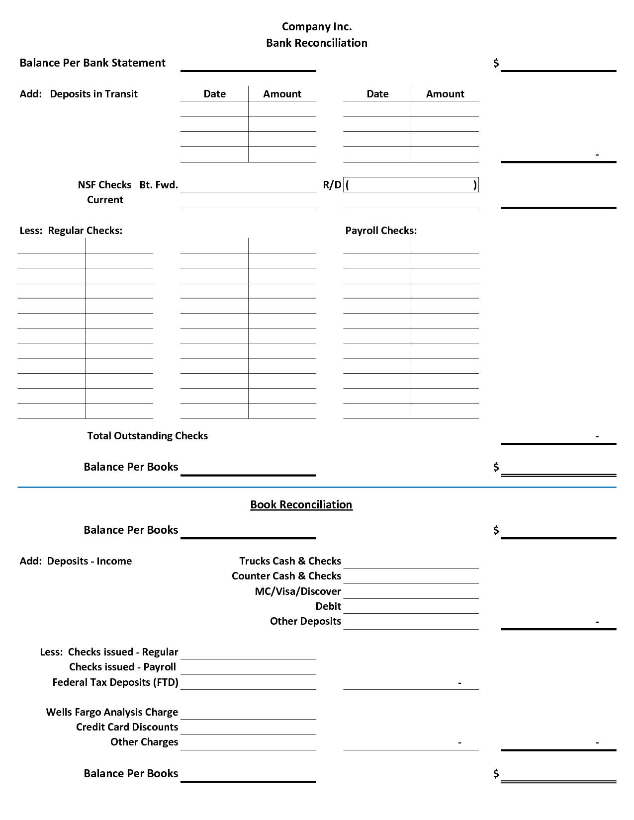 Trust Account Reconciliation Template Blank Bank Reconciliation form Portablegasgrillweber Com