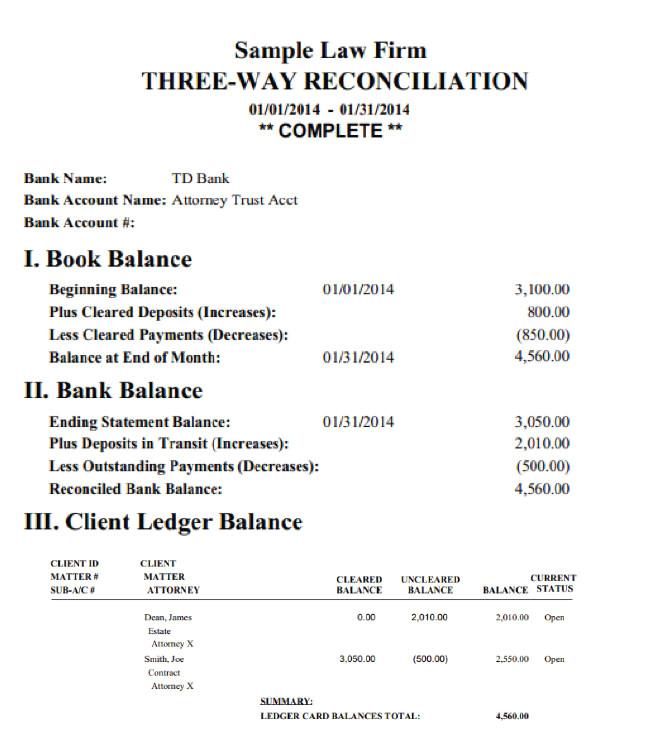 trust account reconciliation template