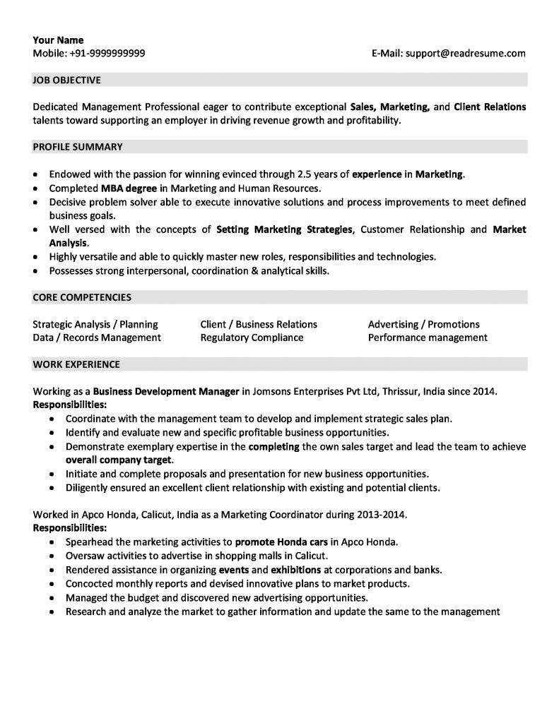 Two Years Experience Resume Sample Sales and Marketing Resume Sample for 2 Years Experience