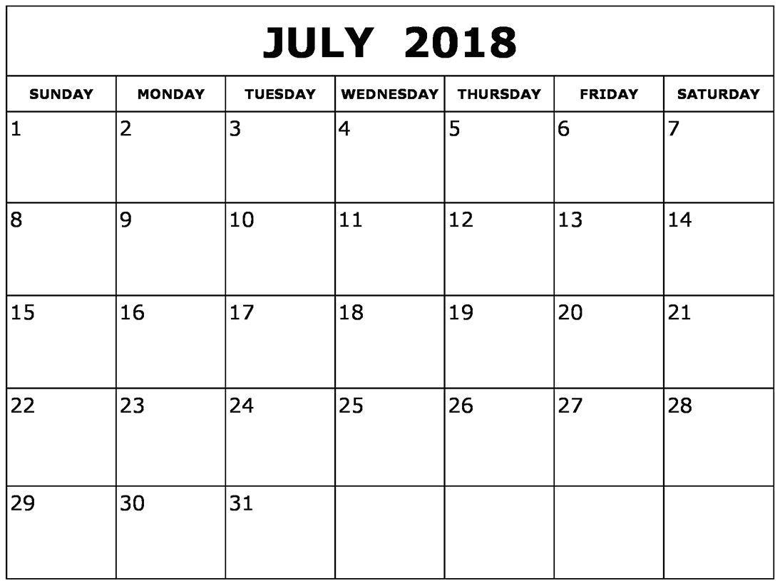 july 2018 calendar template printable