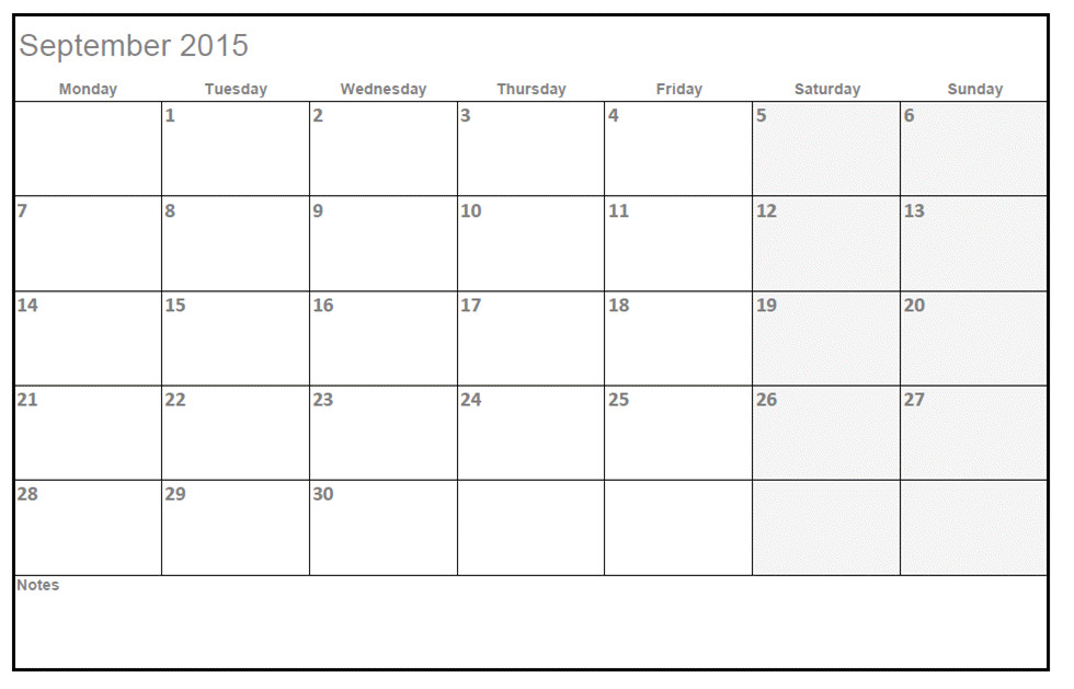 type in calendar template 2015
