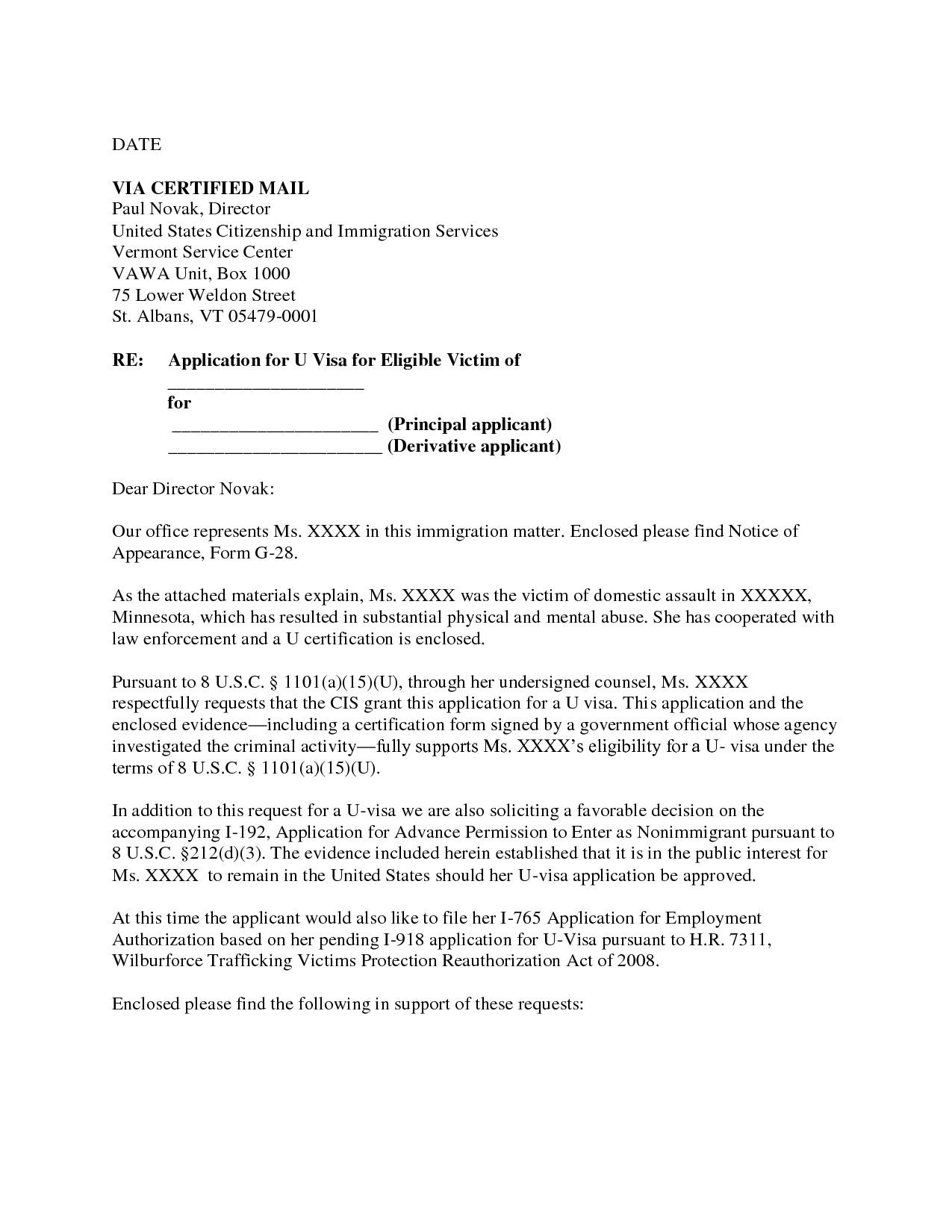 u visa cover letter sample