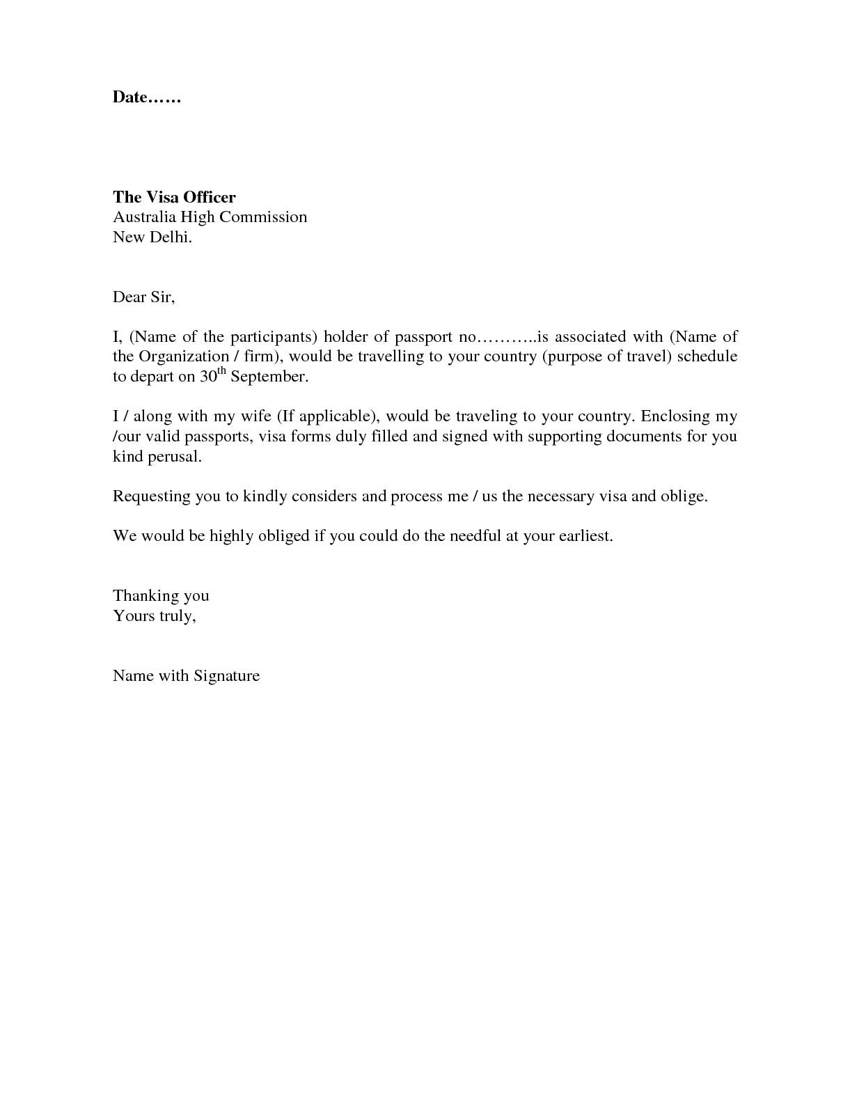 visa covering letter format