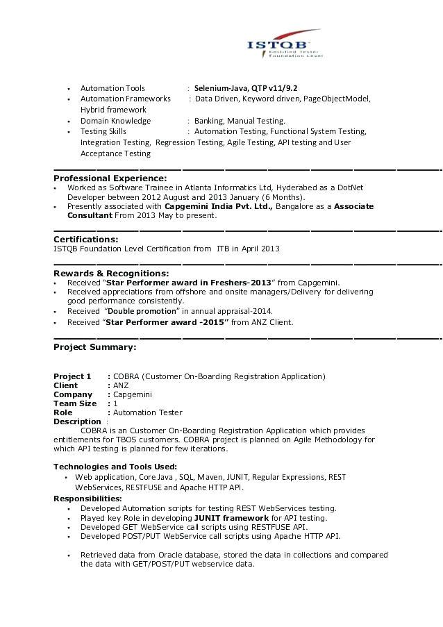 agile methodology tester resume