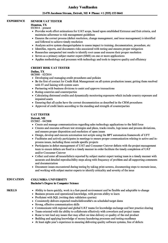 Uat Tester Resume Sample Uat Tester Resume Samples Velvet Jobs